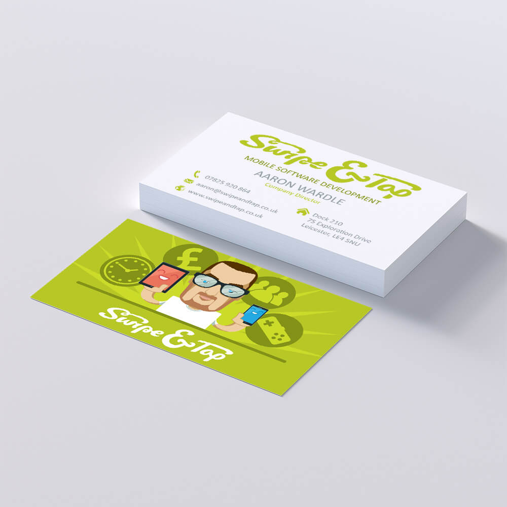 swipe and tap business card design